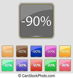 sæt, farvet, byde, cents per, omsætning, symbol., tegn, knapper, rabat, vektor, label., 90, icon., specielle