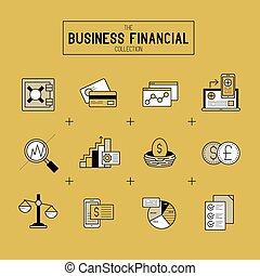 sæt, finansielle, firma, ikon