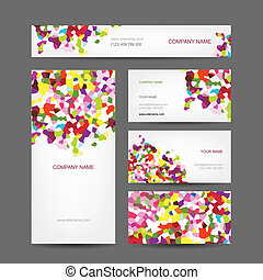 sæt, firma, abstrakt, kreative, konstruktion, cards