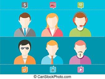 sæt, firma, piger, avatars, kvinde, stilfuld, guys, mand