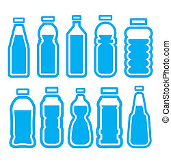 sæt, flaske, plastik