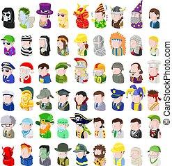 sæt, folk, avatar, ikon