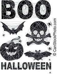 sæt, halloween, spidernet, ikon