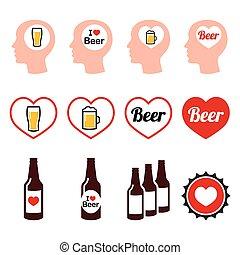 sæt, iconerne, øl, vektor, mand, kærlig