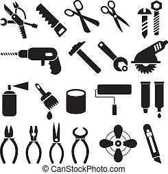 sæt, iconerne, arbejde, -, vektor, redskaberne