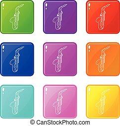 sæt, iconerne, farve, samling, saxofon, 9