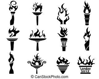 sæt, iconerne, ild, begfakkel, flamme, sort