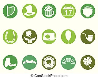sæt, iconerne, knap, st., grønne, omkring, dag, patrick's