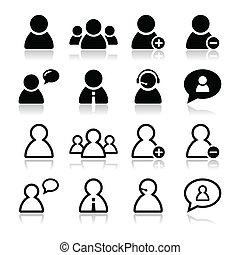 sæt, iconerne, -, sort, bruger, forretningsmand