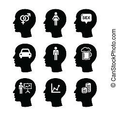 sæt, iconerne, vektor, anføreren, tanker, mand