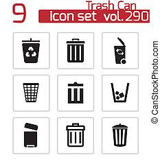 sæt, iconerne, vektor, sort, dåse, affaldet