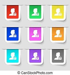 sæt, ikon, tegn., etiketter, moderne, multicolored, vektor, bruger, blokkeret, din, design.