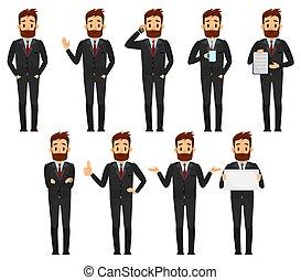sæt, illustration., karakter, vektor, tøjsæt, forretningsmand, mandlig, cartoon, design.