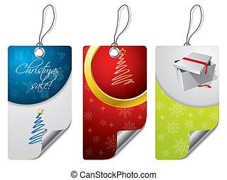 sæt, jul, konstruktion, etikette