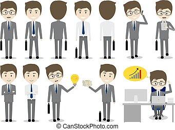 sæt, karakter, illustration, vektor, konstruktion, baggrund, forretningsmand, hvid, cartoon