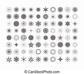 sæt, komplet, iconerne, symboler, elementer, sort baggrund, tegn, konstruktion, 80, hvid