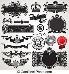 sæt, kongelige, vektor, udsmykket, rammer, elementer