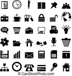 sæt, kontor branche, iconerne