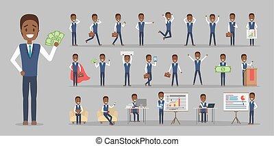sæt, kontor, karakter, arbejder, forretningsmand, eller