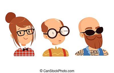 sæt, kvindelig, forskellige, avatars, hairstyle, mandlig, vektor