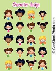 sæt, mandlig, avatars, kvindelig, cartoon