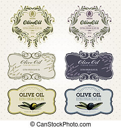 sæt, olie, oliven, etiketter