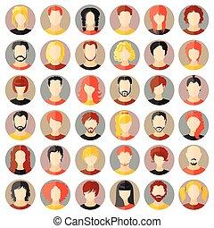 sæt, piger, vektor, avatars., stilfuld, guys