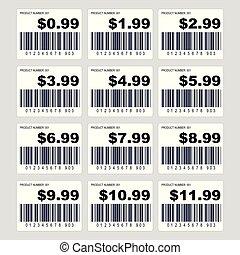 sæt, pris, barcode, etiketten, etikette