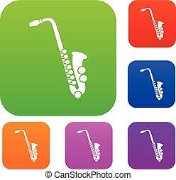 sæt, saxofon, samling