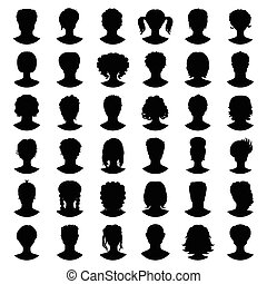 sæt, silhuet, piger, vektor, avatars., guys