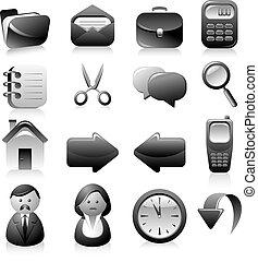 sæt, sort, iconerne