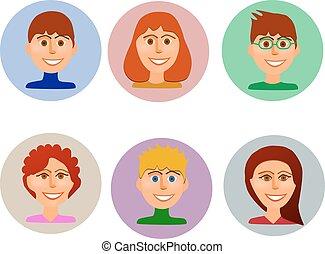 sæt, style., avatars, farverig, det peoples