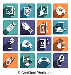 sæt, sundhed, digitale, iconerne