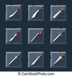 sæt, sværd, ikon
