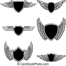 sæt, tegn, isoleret, illustration, emblem, baggrund., emblems, vektor, konstruktion, logo, etikette, hvid, badge., vinger, elementer