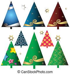 sæt, træer christmas