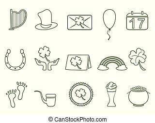 sæt, udkast, st., grønne, patrick's, dag, ikon