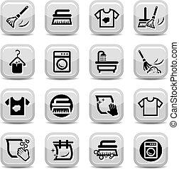sæt, vaske, rensning, iconerne