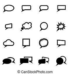sæt, vektor, sort, speach, bobler, ikon