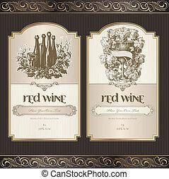 sæt, vin, etiketter