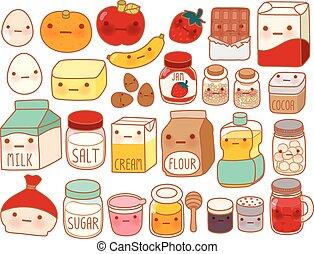 sød, mælk, barnlige, ægget, firmanavnet, kage, cute, mel, isoleret, ikon, cartoon, manga, henrivende, jordbær, girly, ingrediens, kawaii, smør, samling, dejlige, hvid