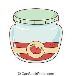 sød, pot, syltetøj, jordbær