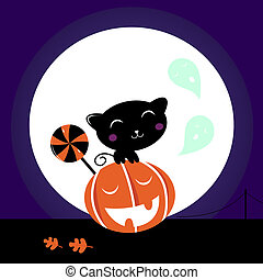 sød, sort, anføreren, kat, cute, pumpkin, slikkepind