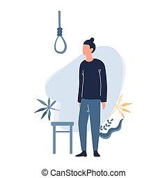 sørgelige, suicide., mand, synes, guy, omkring, kriseramt