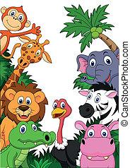 safari, dyr, baggrund, cartoon