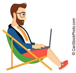 salon, chaise, forretningsmand, laptop., siddende