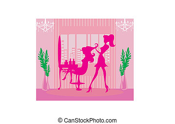 salon, pige, hairdressing, smukke