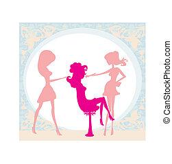 salon, pige, skønhed