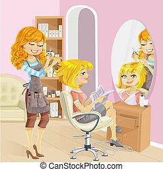 salon, skønhed, hairdresser, pige, tjeneste