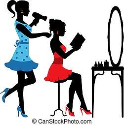 salon, skønhed, kvinder